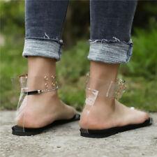 Girl Women Beach Open Toe Clear Jelly Sandals Transparent Flat Summer Shoes Size