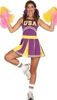 Ladies USA Purple American Cheerleader World Hen Do Fancy Dress Costume Outfit
