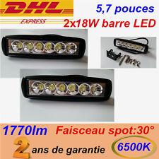 2x Barre à LED 18W phare de travail Rampe Feux spot 30° SUV 4x4 offroad 12V 24V