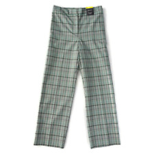 M&S Size 16 High Rise Check Straight Trousers 7/8ths Green Grey Womens NEW £35