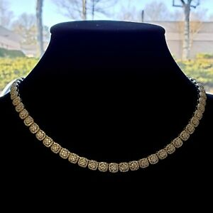 14K Gold Plated CZ Iced Cluster Chain Necklace Mens Hip Hop Rapper Jewelry