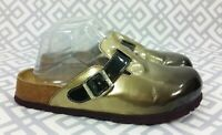 Womens Betula Birkenstock Patent Leather Gold Black Clogs Mules Shoes 38 7 7.5