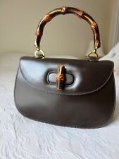 GUCCI Bamboo Line Hand Bag  Brown  Leather Vintage Italy Auth