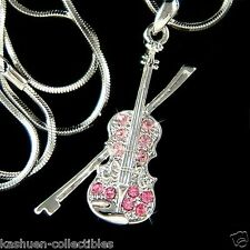 w Swarovski Crystal ~Pink Fiddle VIOLIN Bow Music Musical Charm Pendant Necklace