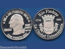 Silver Peseta RIO PIEDRAS 1714 1951 60 años San Juan Puerto Rico T1 Thick letter