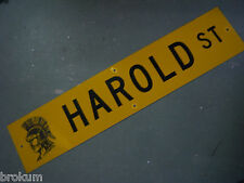 "Vintage ORIGINAL HAROLD ST STREET SIGN 42"" X 9"" BLACK LETTERING ON YELLOW"