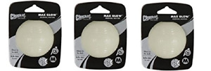 Pack Of 3 x Chuckit Light Play Max Glow Ball ** EVERY SIZE ** For Dog Launcher