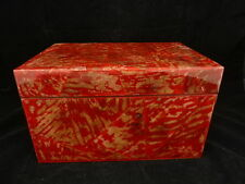 "Jewelry Storage CD Box Hinged lid 11"" x 8"" x 7"" Thick Laquer Finish Red Gold"
