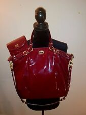 COACH Burgundy Handbag Madison Maggie Patent Leather Strap with Matching Wallet