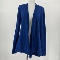 Eileen Fisher Sweater Open Front Solid Blue Cardigan Long Sleeve Size Medium