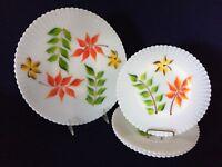 Unusual MacBeth Evans Monax Petalware Depression Glass HP Cake Set with Leaves