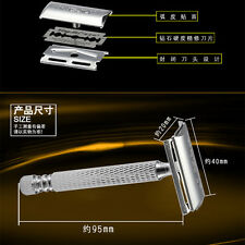 Stainless Steel King Safety Mens Shaving Razor With Case Double Edge +5 Blades