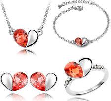 Zilveren sieraden set, ketting, oorbellen, armband & ring model hartje rood
