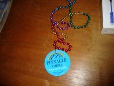 Pinnacle Vodka multi color beaded necklace mardi gras beads gay rainbow