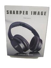 SHARPER IMAGE Wireless TV Headphones Black with Charging Cradle NEW