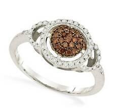 Chocolate Brown & White Diamond Ring 10K White Gold Round Diamond Cluster .33ct