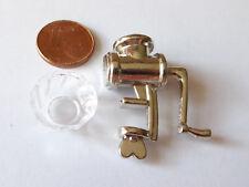 Fleischwolf mit Schale Metall Küche Kochen Puppenstube Puppenhaus Miniatur 1:12