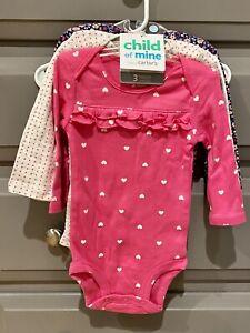 Child of Mine Carters Long Sleeve Bodysuits 3 pack Girls Boys Unisex 3-6 Mos