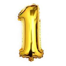 40 Metallic Gold Glossy One Year Old First Birthday 1 Month Number Float Balloon