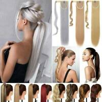 Clip In Wrap Around Hair Ponytail 100% Grey Pony Tail Hair Piece Hair Extension