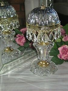 RARE BLUE  MICHELOTTI PINK FRENCH DOME CRYSTAL BOUDOIR CHANDELIER TABLE LAMP