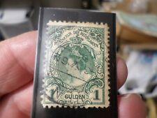 Antique 1898 Netherlands 1 Gulden Rare Stamp, Dark Green