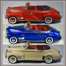 THREE Welly 1941 Chevy Special Deluxe 1:24 scale diecast cars RED, TAN, BLUE.