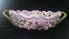 ANTIQUE SAMSON PORCELAIN RETICULATED BASKET bowl encrusted hand painted flowers
