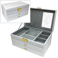 LARGE WHITE PU LEATHER 2 DRAWER JEWELLERY BOX WITH MIRROR JEWELRY STORAGE CASE