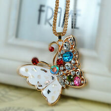Crystal Pendant Chain Christmas Gift Butterfly Sweater Bead Necklace Rhinestone