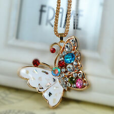 Butterfly Sweater Bead Necklace Rhinestone Crystal Pendant Chain Christmas Gift