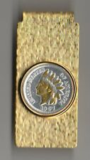 Indian Head Cent Money Clip Gold and Silver on Silver Hinge Free Shipping + Box