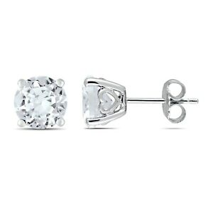 Amour Sterling Silver Created White Sapphire Solitaire Earrings