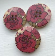 3 large red//very dark pink flower wooden buttons 30mm