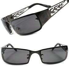 Gunmetal Motorcycle Riding Biker Wrap Sport Extreme Mens Metal Flame Sunglasses
