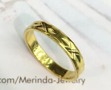 24K Solid Pure Gold Diamond cut Band Ring 4.04 Grams. Size 7.25