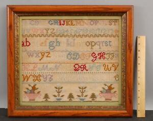 1869 Antique 19thC American Primitive Folk Art Sewing Alphabet Sampler, NR