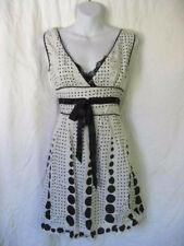 Cute Retro Black & White Polka Dot Tie Waist V-Neck & Lace Trim Sundress Dress L