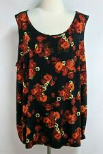 Catherines Womens 3X 26/28W Black Red Floral Polyester Scoop Neck Tank Top