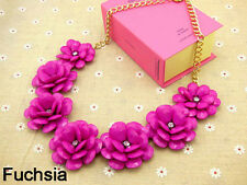 DESIGNER CRYSTAL FLOWER ACRYLIC PINK BEADS FLOWERS STATEMENT NECKLACE