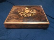 """Italy Floral Marquetry Inlaid Wood - Large Music Jewelry Box. Plays""""Lime Light"""""""