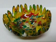 Murano Speckled Tutti Frutti Art Glass Bowl / Dish Spiked Edges