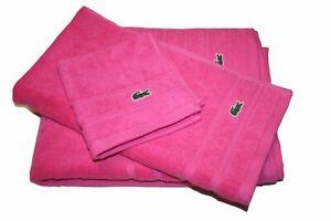 Lacoste Croc Bath Towel 3pcs Set, Pink