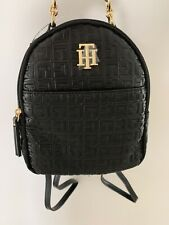 NWT Womens Tommy Hilfiger Mini Backpack Monogram Black TH Logo Bag