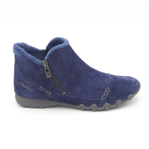 Skechers Relaxed Fit Suede Biker Ankle Boots Earthy Chic Navy