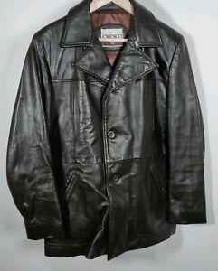 Vintage Cresco Brown Leather 3 Button Front  Jacket Size 40 Large