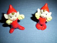 2 Vintage Ceramic Miniature Elves - Japan