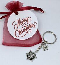 Xmas christmas gift - keyring snowflake charm craker, with tag red organza bag