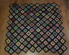 Vintage Black Afghan Granny Square Lap Blanket Throw Big Bang/Roseanne