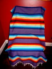 New Fire & Ice Serape Throw Blanket  Southwest  Style Mexican Purple